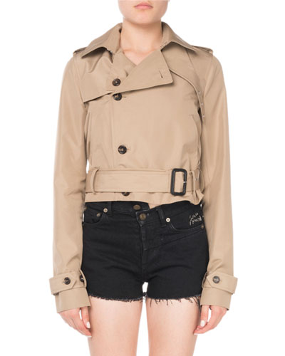 Button-Front Belted Cropped Silk Trench Coat