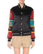 Snap-Front Bomber Jacket with Patch Embroidered Sleeves