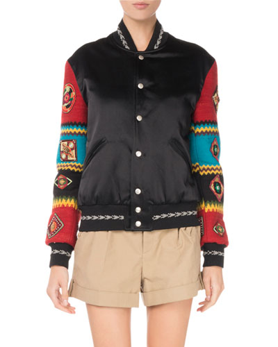 Snap-Front Bomber Jacket With Patch Embroidered Sleeves in Black