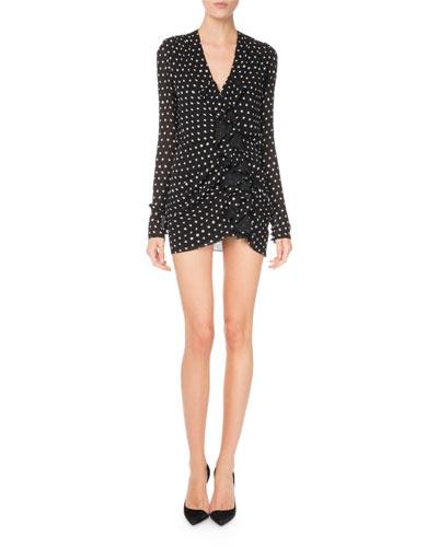 V-Neck Ruffle-Front Dot-Print Ruched Dress