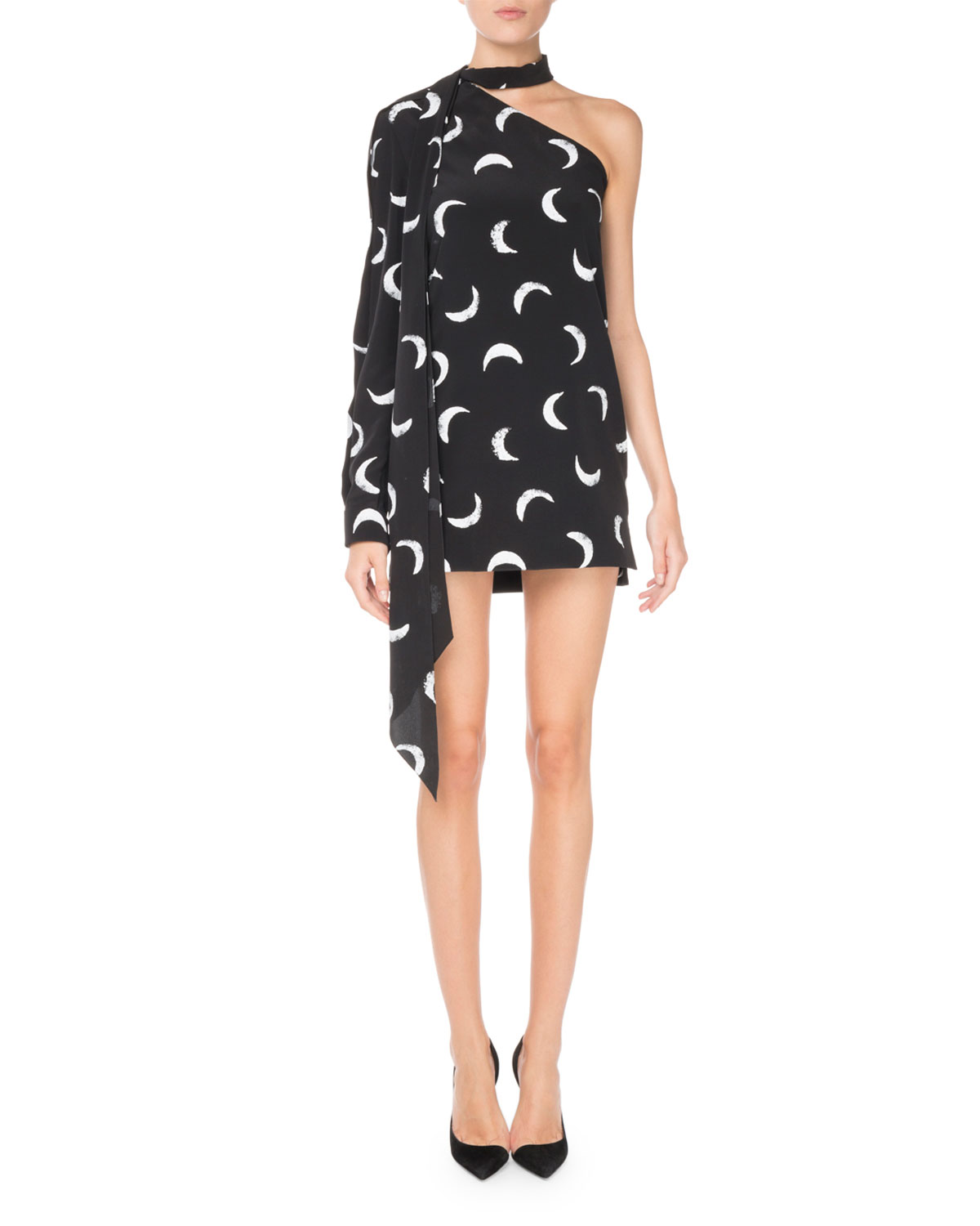 Tie-Neck One-Sleeve Moon-Print Short Silk Dress