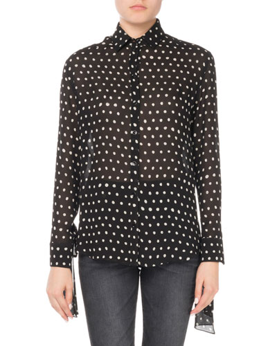 Lipstick Dot Silk Tie-Sleeve Blouse