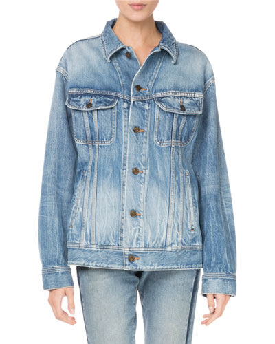 Button-Front Long-Sleeve Oversized Denim Jacket