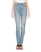 High-Waist Side-Stripe Skinny-Leg Jeans