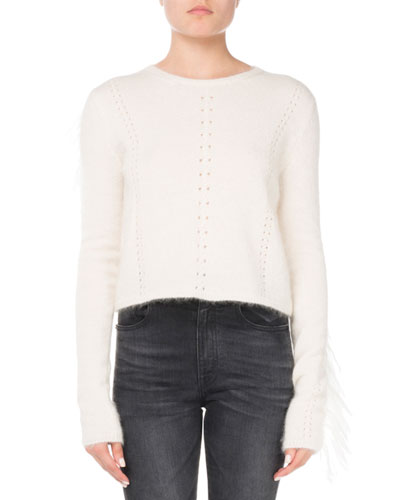 Crewneck Mohair-Wool Sweater with Fringed Trim