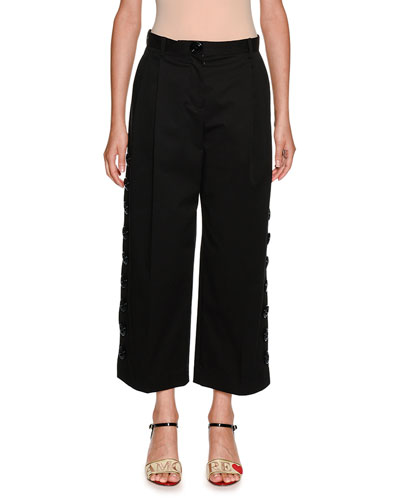 Side Snaps Wide-Leg Crop Stretch-Cotton Pants