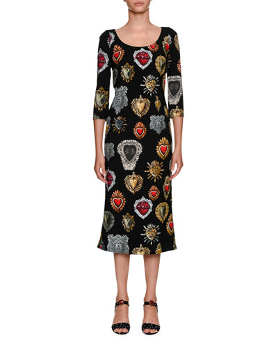 Round-Neck 3/4-Sleeve Heart-Print Cady Midi Dress