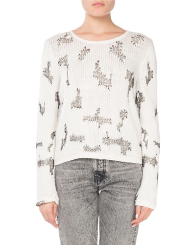 Crewneck Intarsia-Knit Cropped Cashmere Sweater