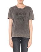 Crewneck Short-Sleeve Embroidered Heart Cotton T-Shirt