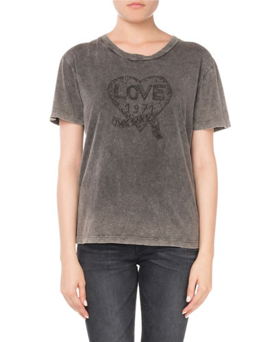 Crewneck Short-Sleeve Embroidered Heart Cotton T-Shirt
