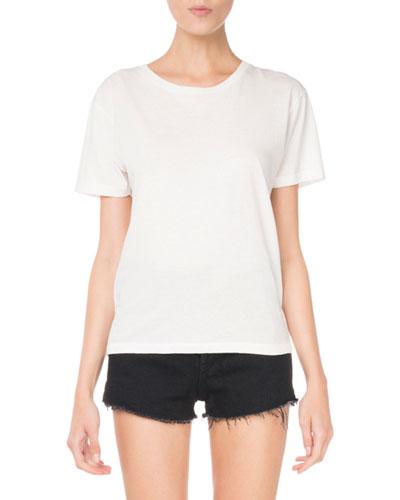 Crewneck Short-Sleeve Heart-Cutout Classic T-Shirt