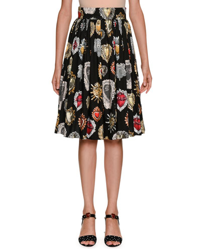 Sacred Heart Pleated A-Line Printed Poplin Skirt