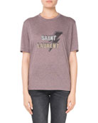 Crewneck Short-Sleeve Cotton T-Shirt with Lightning Bolt