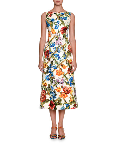 PRINTED COTTON AND SILK-BLEND BROCADE MIDI DRESS