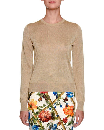 Metallic Crewneck Long-Sleeve Pullover Top
