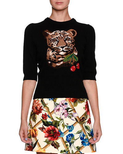 Leopard & Cherry Print Crewneck Elbow-Sleeve Wool-Cashmere Sweater