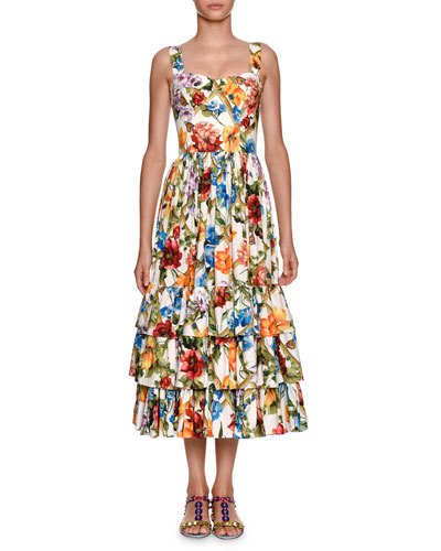 Sleeveless Bamboo Climbing Flowers-Print Midi Dress