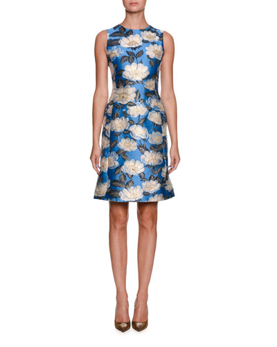 Sleeveless Printed Jacquard A-Line Dress