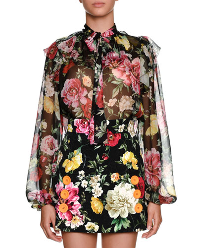 Bow-Tie Long-Sleeve Floral-Print Silk Chiffon Blouse