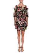 Capelet Cold-Shoulder Floral-Print Silk Chiffon Mini Dress