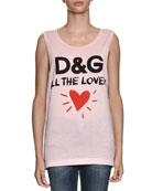 D&G All The Lovers Scoop-Neck Sleeveless Cotton Jersey Top