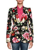 Single-Breasted Floral-Print Cotton Drill Blazer