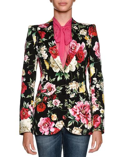 Single-Breasted Floral-Print Cotton Drill Blazer, Black Pattern