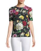 Short-Sleeve Crewneck Floral-Print Cady Top