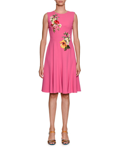 Sleeveless Stretch-Cady Dress w/ Floral Applique