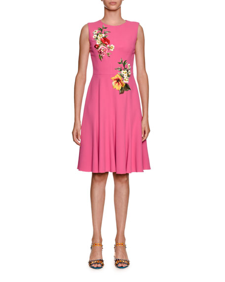 Dolce & Gabbana Sleeveless Stretch-Cady Dress w/ Floral Applique