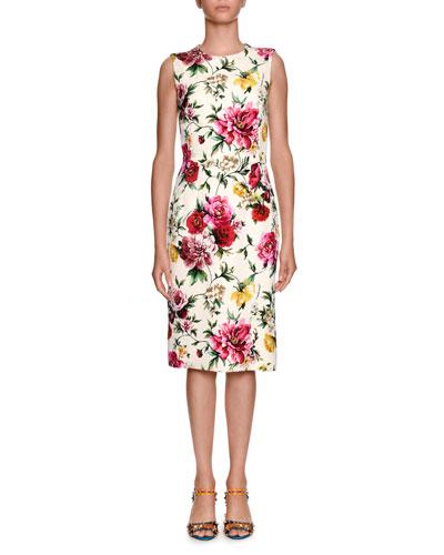 Sleeveless Floral Brocade Sheath Daytime Dress