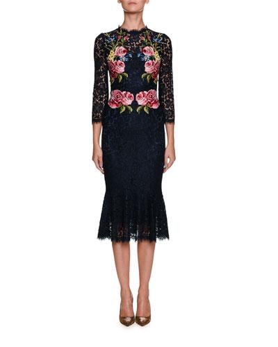 High-Neck Long-Sleeve Lace Dress w/ Floral Appliques
