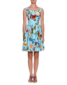 Floral Telephone-Print Sleeveless Button-Front Cotton Dress