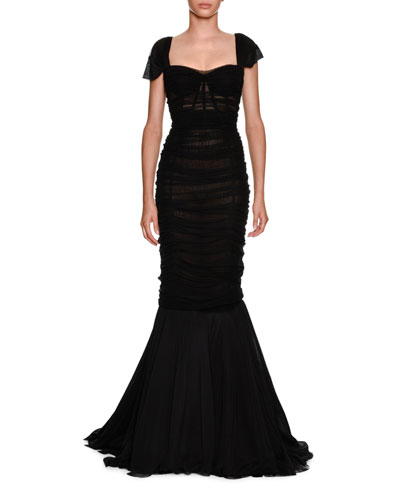 Sweetheart-Neck Ruched Tulle Trumpet Evening Gown