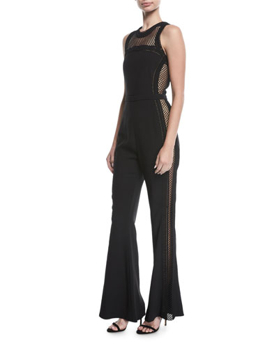 Sleeveless Net-Trim Jumpsuit