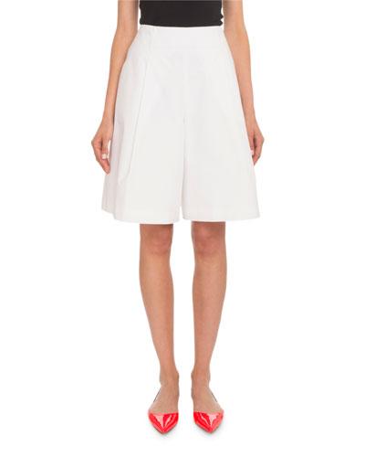 Pleated Cotton Poplin Knee-Length Bermuda Shorts