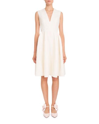 Sleeveless V-Neck Fil-Coupe A-Line Short Dress