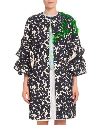 Ruffle-Sleeve Jacquard Mid-Thigh Coat