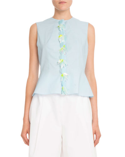 Sleeveless Cotton Poplin Peplum Top w/ Removable Embellished Placket