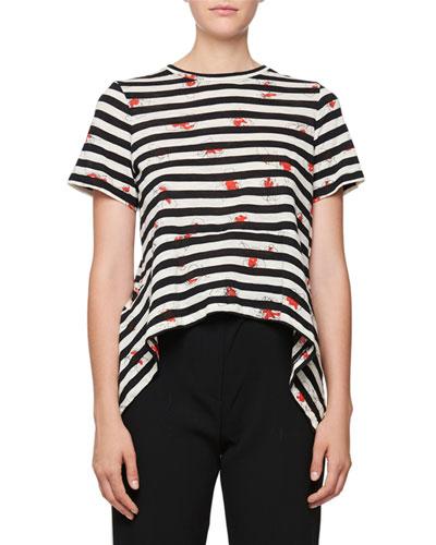 Short-Sleeve Striped Poppy-Print Tee