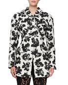 Single-Breasted Floral-Jacquard Jacket