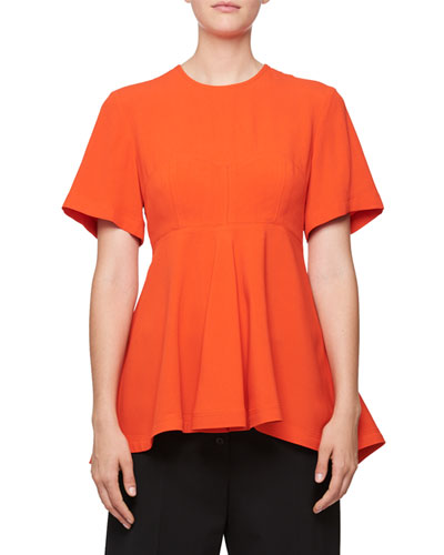 Crewneck Short-Sleeve Peplum Top