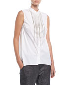 Sleeveless Cotton Poplin Blouse with Monili Waterfall Trim