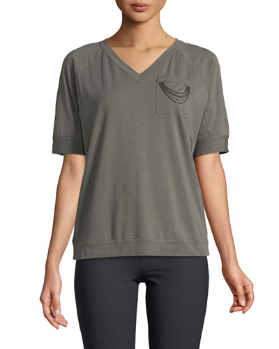 Short-Sleeve V-Neck Cotton Jersey Tee with Monili Chain