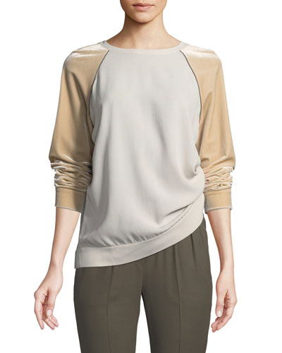 Velvet-Sleeve Silk Crepe Crewneck Top with Monili Trim