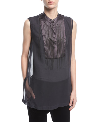 Sleeveless Organza Top with Chain Waterfall and Satin Placket