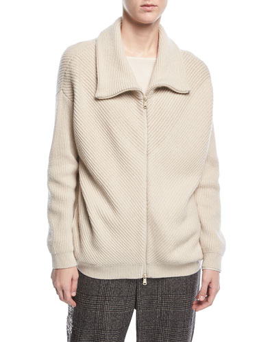 Zip-Front Chevron-Ribbed Cashmere Jacket