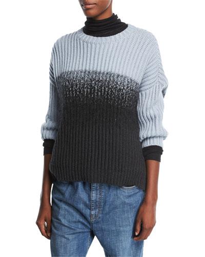 Crewneck Rib-Knit Pullover Cashmere Sweater