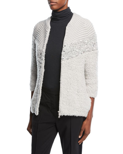 Zip-Front Chevron Knit Cashmere Cardigan with Paillettes