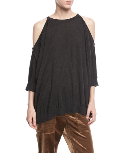 Cashmere-Silk Cold-Shoulder Pullover Top